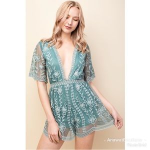 anawatboutique Pants - Talia Embroidered Lace Romper